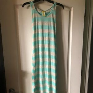 Turquoise And Light Grey Bathing Suit Coverup